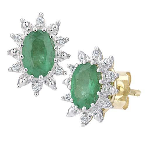 Naava Orecchini a Perno da Donna, Oro Giallo, Diamante/Smeraldo