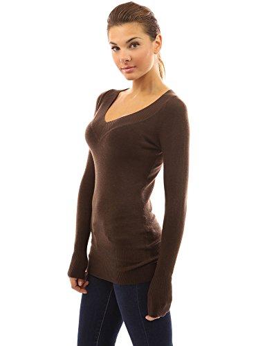 PattyBoutik Damen Pullover/Tunika mit V-Ausschnitt und langen Armen Dunkelbraun