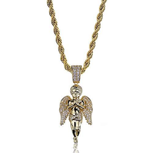 Für Cupid Jungen Kostüm - DADATU Halsketten für Herren AAA + Zirkon Bling Ice Out Cupid Engel Anhänger Halsketten Gold Farbe Kupfer Herren Hip Hop Rapper Schmuck Mit 24 Zoll Twist Kette