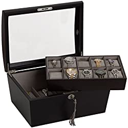 portaorologi with Wood Display Cabinet Box Case Box for 15 Watches