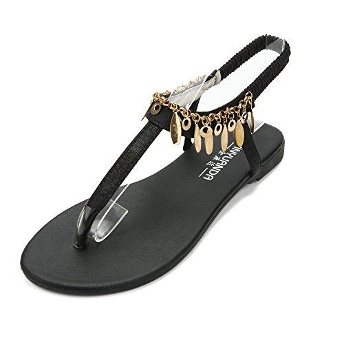Sandale Femme Bohême avec Paillettes Chaussures Gladiateur Plate Fille Flip-Flops Plage