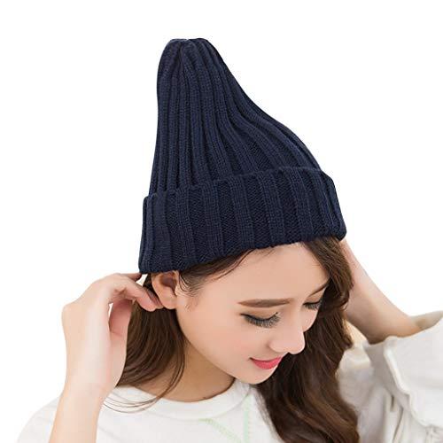 Fcostume Mode Frauen Cap Warme Nette Schnullerkappe Form Winter Plus Solide Slouchy Strickmütze Beanie Deckel (Schwarz) -