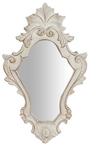 Espejo de pared de madera acabado blanco antiguo Made in Italy L25x pr2,5X H40cm