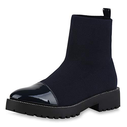 SCARPE VITA Damen Stiefeletten Schlupfstiefeletten Strick Sock Boots Lack Schuhe Strass Booties Sockenschuhe Schlupfstiefel 186509 Dunkelblau 36