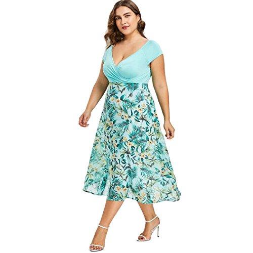 Damen Kleid Yesmile Frauen Plus Größe Sexy V Ausschnitt Floral Maxi Abend Boho Strandkleid Halb Ärmel Spitzenkleid Langen Prom Kleid Mode Eleganten Böhmischen Stil Kleid L-5XL (Grün, XL) (Grün Floral Kleid)