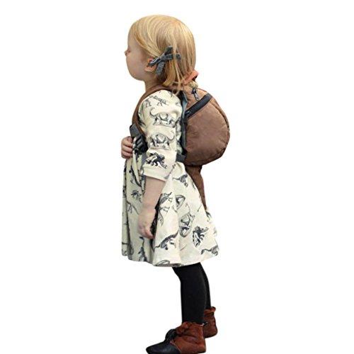 d-Mädchen Baumwolle Mittel Langarm Casual Cartoon Dinosaurier Drucken T-shirt Kleid 3-18 Monat (Cremefarbig, 3M) (2017 Halloween-kostüm Ideen Für Kleinkinder)