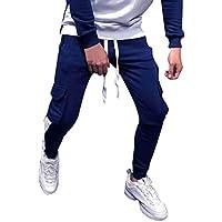 Pantalón Chandal Hombre Pantalones Deportivos con Cordones Ajustado Fitness Gym Invierno Tallas Grandes Holatee
