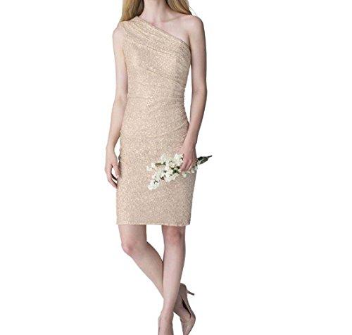 (Damen Kleid Temperament Off-the-Schulter Toast Bankett Abendkleid Jahrestagung Kostüm kurze Verbandkleid (Color : Gold, Größe : 6))