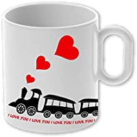 """My Custom Style® Tazza Magica In Ceramica Personalizzabile Da 325ml Modello """"Treno Di San Valentino"""" - 1 tazza"""