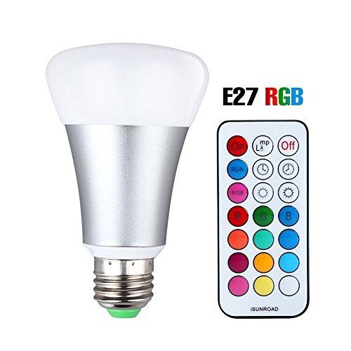 Base Lampe Rote (LED RGBW Lampe mit Fernbedienung, 10W A19 E27 Base Dimmbare Birne mit RGB und Kaltweißem Licht, RGB + Weiß [Energieklasse A++])