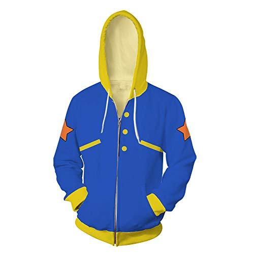 MSLFZ Kapuzenpullover Herren,Anime Battlewear Series Print Zipper Sweater Bequem Soft Blau 5XL