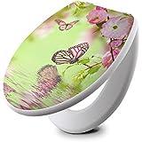 banjado - Design WC Sitz Toilettendeckel weiß Toilettensitz 36cm x 5,5cm x 42,5cm mit Motiv Japanische Kirschblüte ,Toilettendeckel: Weiß