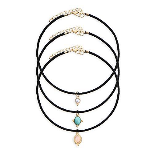 Handgemachte Leder-türkisfarbene Halskette, antike Perlenkette, exquisite Ledersteinanhänger,...