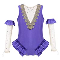 Freebily Children Girls Princess Costume Halloween Cosplay Party Outfit Fancy Dress Cape with Satin Skirt Gloves Lavender Princess Leotard 7-8Years