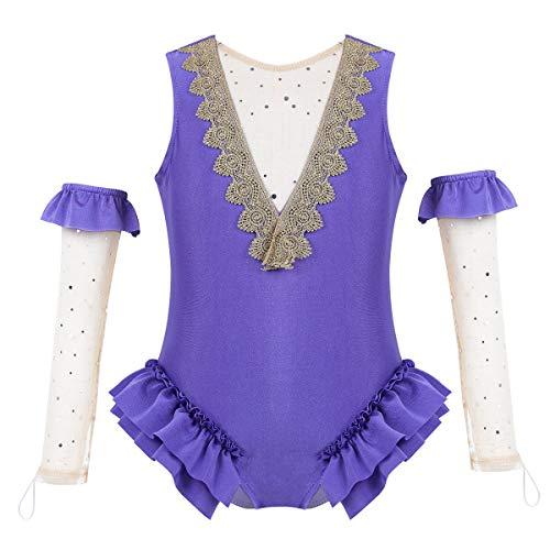 ranrann Kinder Kostüm Mädchen Body Tanz-Body mit Armstulpen Outfit Set Ballett Trikot Ballettanzug Fasching Karneval Party Cosplay Kostüm 3-8 Jahre Lavendel 104/4Jahre