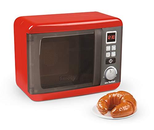 Smoby 7600310586WEB Tefal Elektronische Mikrowelle, Küchenzubehör, Kinderspielware ab 3 Jahren, Rot, Grau, Silber