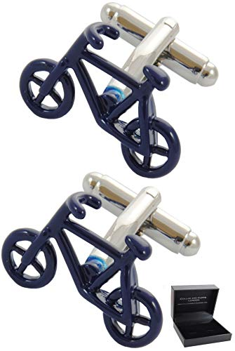 COLLAR AND CUFFS LONDON - Boutons de Manchette AVEC BOITE-CADEAU - Grand Qualité - Vélo - Laiton - Couleur Bleu - Cyclisme - Vélo à Pédales - Cycle -