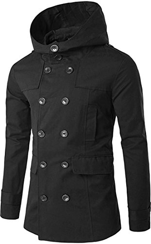 Jeansian L'automne et l'hiver Hommes Manteaux et Blousons Men's Fashion Hooded Jacket Coat Winter Overcoat Tops 9557 Black