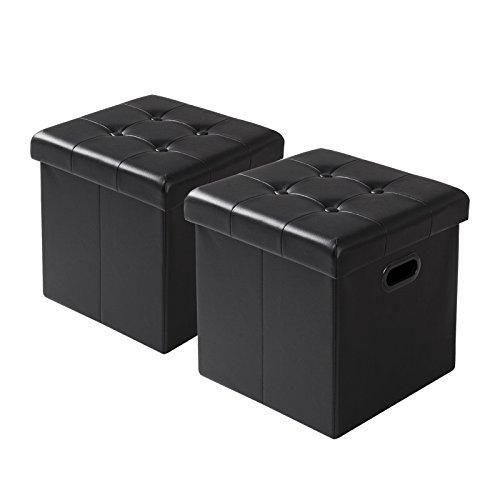 Woltu Juego de 2 Taburetes de Reposapiés con Caja de Almacenamiento Cofres Plegables, Tapa Extraíble, con Asas, Cuero Sintético, 37.5x37.5x38CM, Negro SH15sz-2