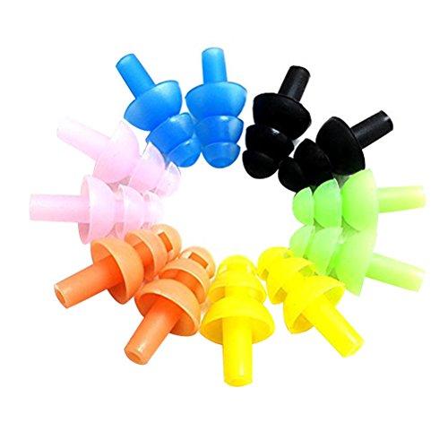 ROSENICE 6 Sets Sortierte Farbe Wasserdicht Silikon Schwimmen Ohrstöpsel und Nase Clip für Kinder und Erwachsene Ohr Nasenschutz Schwimmen Sets mit Box