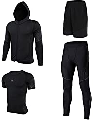 2017 Vansydical Hommes Compresseur Running Base Layer Collants Chemise & Sports Shorts & Compression Leggings & Hooded Longsleeves Chemises Bodybuilding Breathable Sportswear