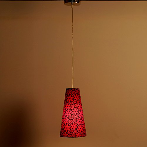 Craftter FLOWER DESIGN RED Color FABRIC HANGING & CEILING Lamp Fixture