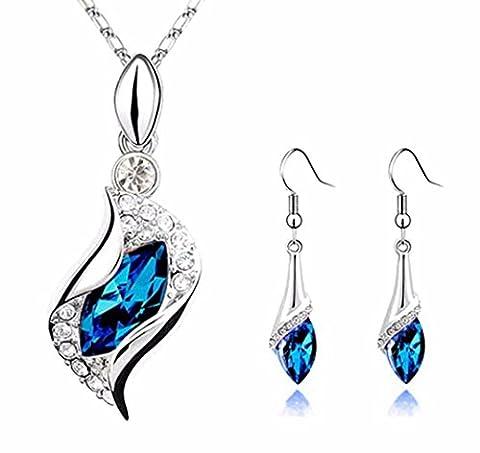 HCFKJ Mode Sapphire Blue Lange Teardrop ÖSterreich Kristall Ohrringe AnhäNger Halskette Collier (Swarovski Sapphire Kreuz)