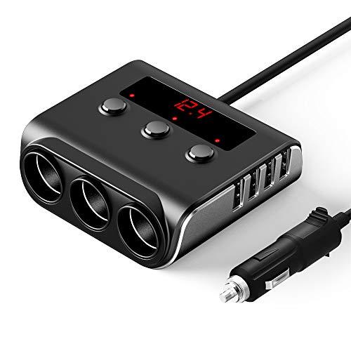 Auto Ladegerät mit 4 USB Steckdose und 3 Fach Zigarettenanzünder Splitter, SONRU 100W 12V / 24V KFZ Power Verteiler USB Adapter mit Getrennte Schalter LED Stromspannung Anzeige für iPhone Samsung