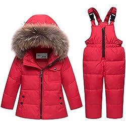 Odziezet Veste en Duvet pour Enfants Bébé Hiver épais 2 Pièces Doudoune à Capuche en Duvet de Canard Chaud d'hiver Fille et Garçon Veste Blouson Manches Longues Ski 1-5 Ans