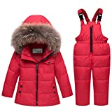 ARAUS Snowsuit da Unisex Bambini Tuta da Sci Piumino Trapuntato + Salopette 2 Pezzi Tutone Inverno 4-13 Anni
