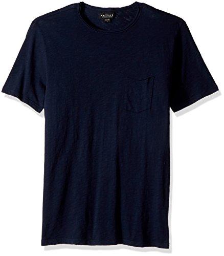 Velvet by Graham & Spencer Herren Men's Chad Pocket Tee T-Shirt, Midnight, Groß - Raw Edge V-neck Tee