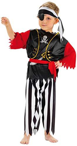 Folat 21680 Kinderkostüm Pirat 98-116, schwarz/weiß/rot, S