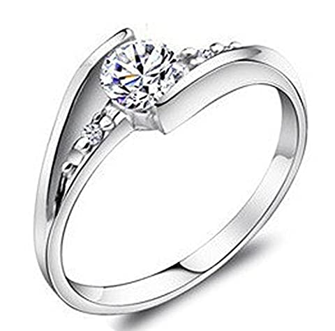 SaySure - Bague en argent Jewelry Brilliant 925 Sterling Silver (SIZE : 8)