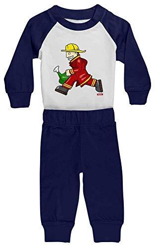 Rennen Kostüm Babys Auto - HARIZ Baby Pyjama Feuerwehrmann Kanne Rennen Feuerwehr Lustig Inkl. Geschenk Karte Weiß/Navy Blau 36-48 Monate