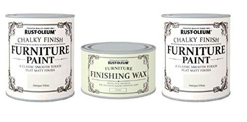 Preisvergleich Produktbild 2 X Rust-Oleum Chalk Antique White Matt Furniture Paint 750ml Plus wax kit by Rustoleum