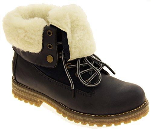 Femmes KEDDO Hi Top Chaude Chaussures en laine doublée en laine Bleu