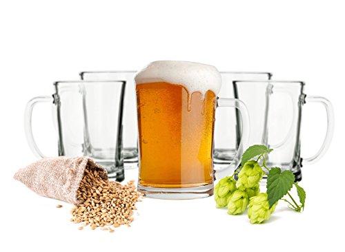 Pilsner Glas Set (6 Biergläser Set 0,5L Bierseidel Bierkrüge Bierglas Bierkrug mit Henkel Bier Pils Gläser)