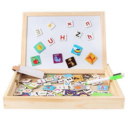 Qys Magnetische Puzzles Pädagogisches Holzspielzeug für Eltern-Kind-Interaktion Kinder 3 4 5 Jahre alt Doppelseitige Zeichen- und Schreibtafel,englishalphabet -