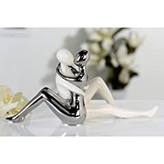 Idea Regalo - Moderna scultura decorativa Amore storia in ceramica bianco/argento altezza 16,5 cm lunghezza 34,5 cm