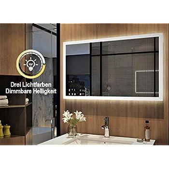 LED Badspiegel 100x60 cm Dimmbar Helligkeit Touch Wandspiegel mit Beleuchtung