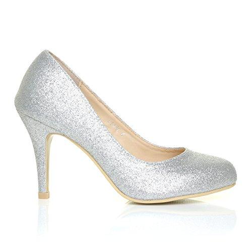 Pearl - High Heels Stöckelschuhe silber Glitter Glitzer Stilettos klassische Pumps - Silber Glitzer, Synthetik, 6 UK / 39 EU