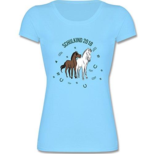 Einschulung - Schulkind 2018 Pferde - 116 (5-6 Jahre) - Hellblau - F288K - Mädchen T-Shirt (T-shirt Kinder 6 Leichte)