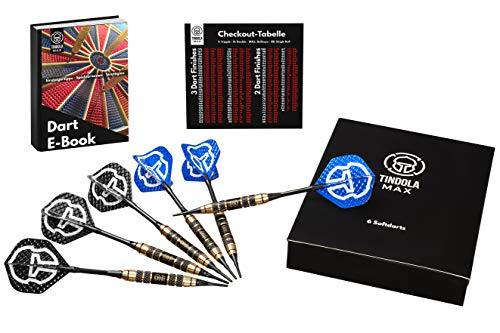 Tindola MAX Dartpfeile - 6 Softdarts 18g mit Kunststoffspitze, Softdart Pfeile Set mit Extra Spitzen und Flights, Box zur Aufbewahrung und kostenloses E-Book, Profi Soft Darts (Schwarz/Blau) (Pfeil-box)