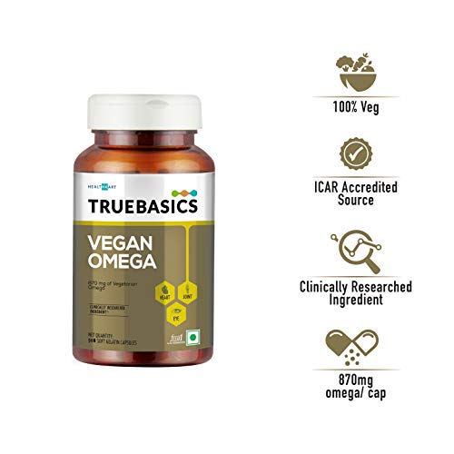 TrueBasics Vegan Omega, 870mg of Vegetarian Omega Fatty Acids, Nutrition Supplement for Heart, Hair, Skin, Joint, Brain & Eye Health, Clinically Researched - 90 Vegetarian Softgels