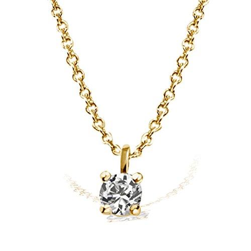 Goldmaid Damen-Kette mit Anhänger Solitär Jana Solitär Halskette Jana 0.05 ct. 585 Gelbgold Diamant (0.05 ct) weiß Brillantschliff Kettenanhänger Schmuck Diamantkette