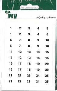 Ivy 231030 Autocollants Chiffres 1-200 8 x 13 mm