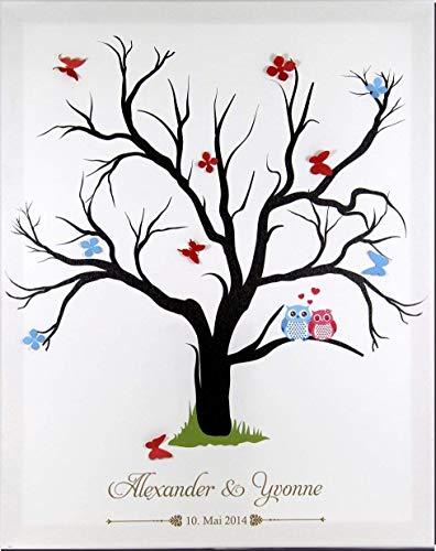 Herz Leinwand (Livingstyle & Wanddesign Fingerabdruck Leinwand zur Hochzeit mit Namen und Datum, Motiv Baum mit 2 Eulen)
