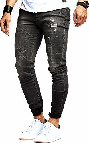 LEIF NELSON Herren Jeanshose Jeans Hose Stretch Schwarz Freizeithose Denim  Slim Fit LN9925SC  W29L32, 3eef97ae83