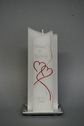 Preisvergleich Produktbild edle Hochzeitskerze mit Steinen - in Sonderform ; inkl. Beschriftung ! I 16
