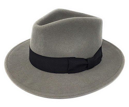 Herren Handgefertigt 100% Wollfilz Indiana Style Knautschfähig Fedora Hut - Grau, X-Large - 61cm (Breite Herren Hut Wolle Krempe)